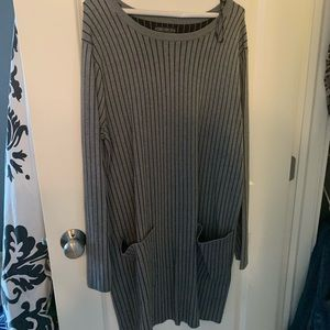 Gray Pin Striped Sweater Dress